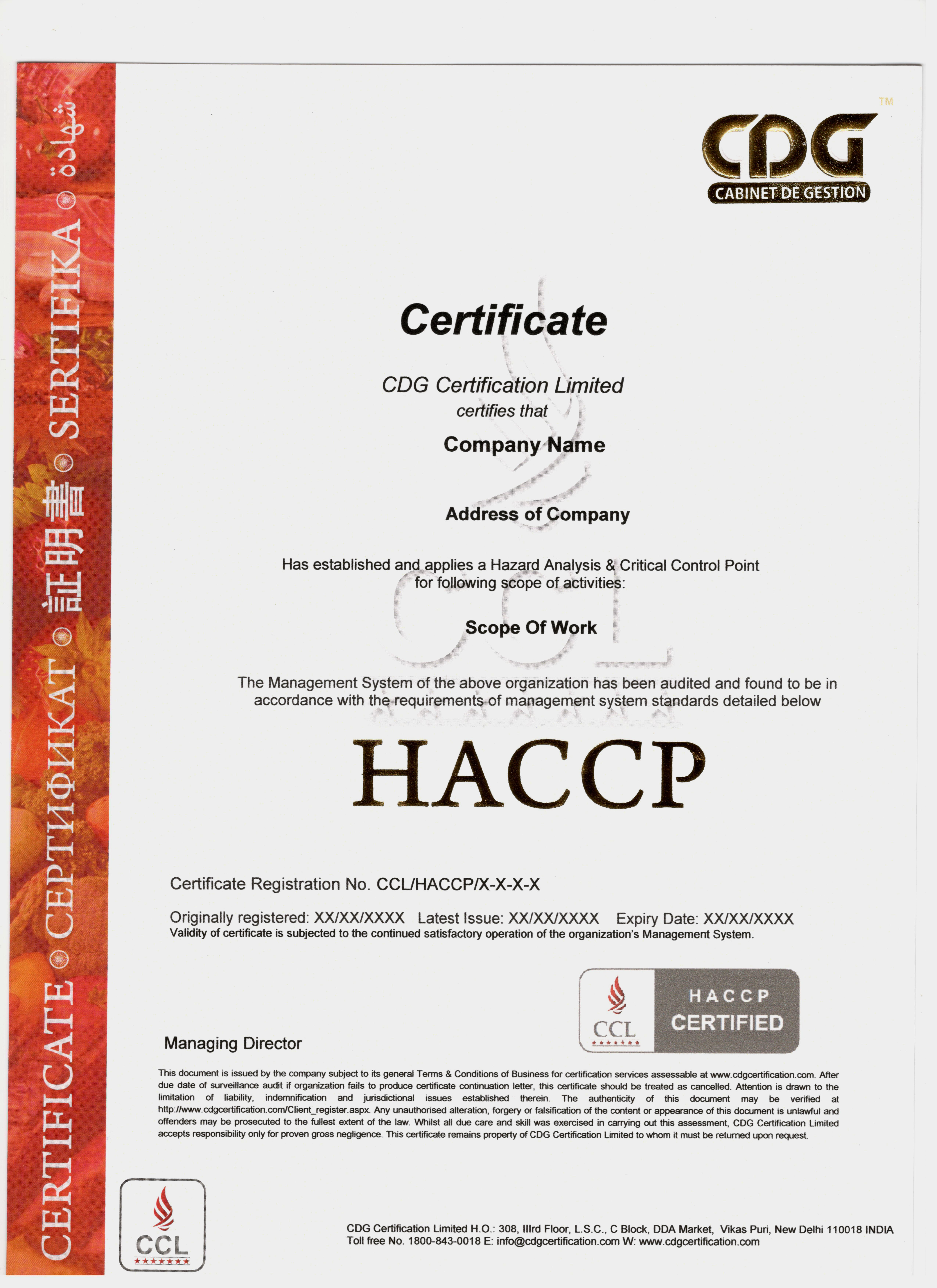 Sample haccp certificate xflitez Image collections