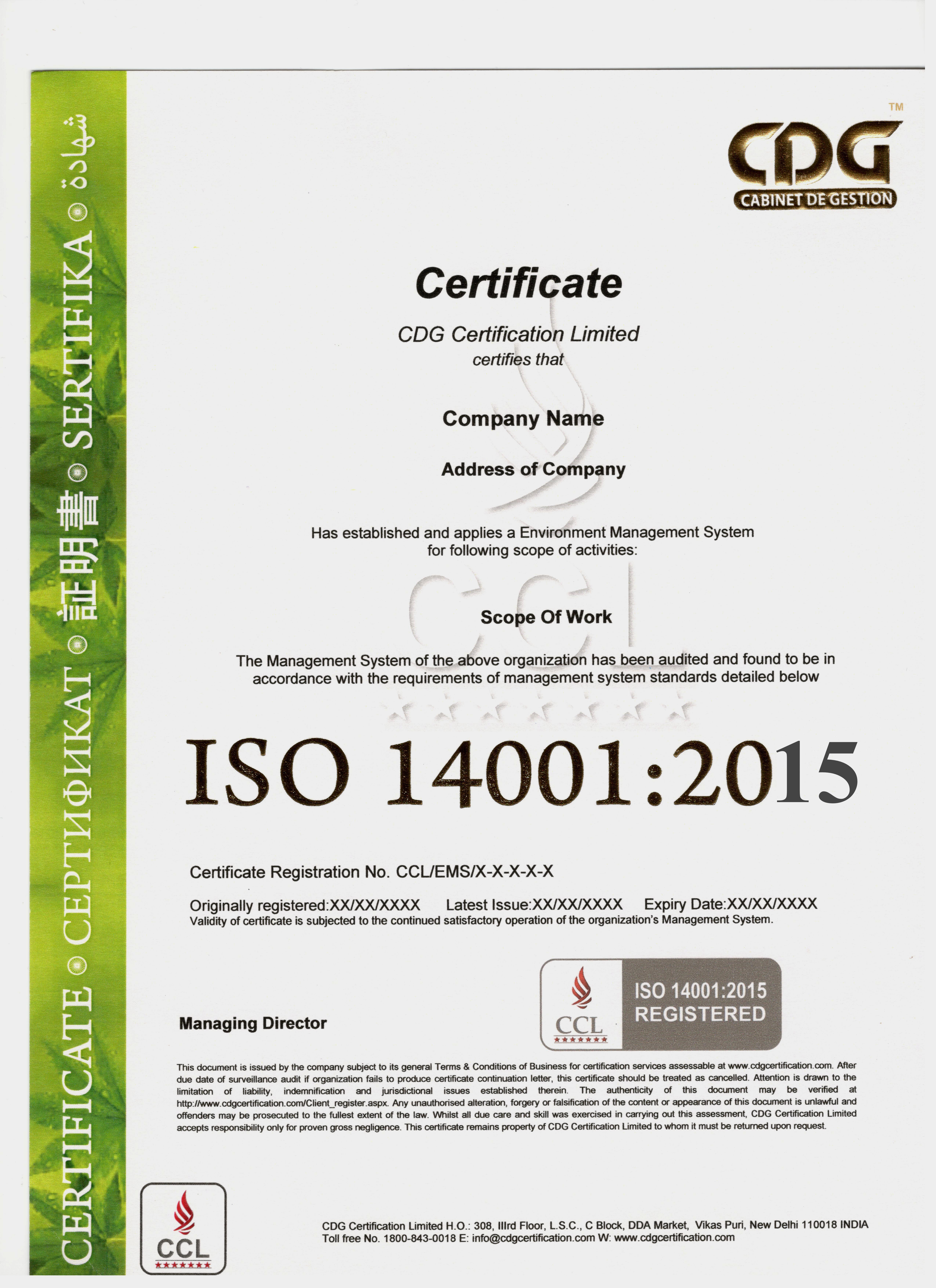 Sample iso 140012015 certificate xflitez Image collections